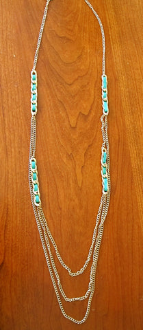 Torquoise and gold long chain
