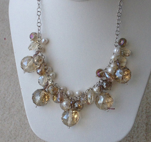 Taupe Crystal necklace