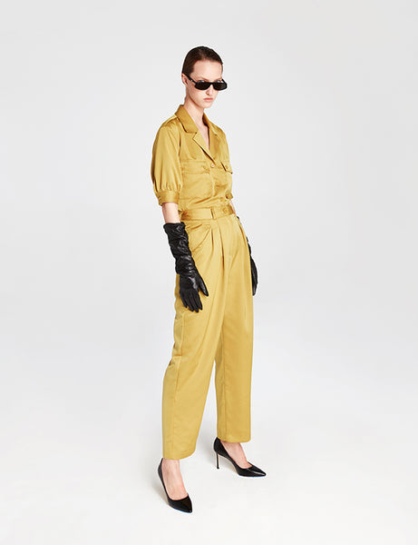 Mustard Silky High-Waisted Trousers