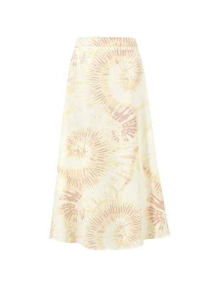 Yellow Tie Dye Midi Skirt