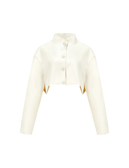 White Cropped Faux Leather Crepe Jacket