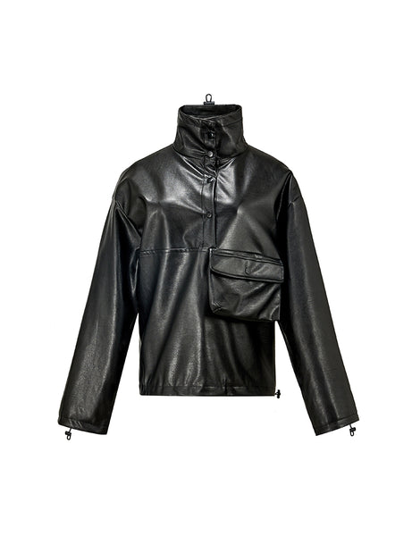 Black Faux Leather Pul-Over