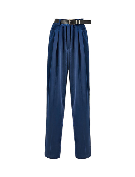 Navy Silky High-Waisted Trousers