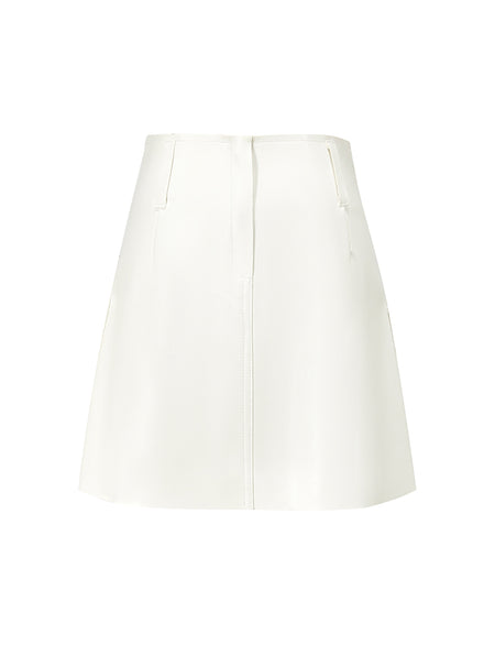 White A-line Leather Mini Skirt