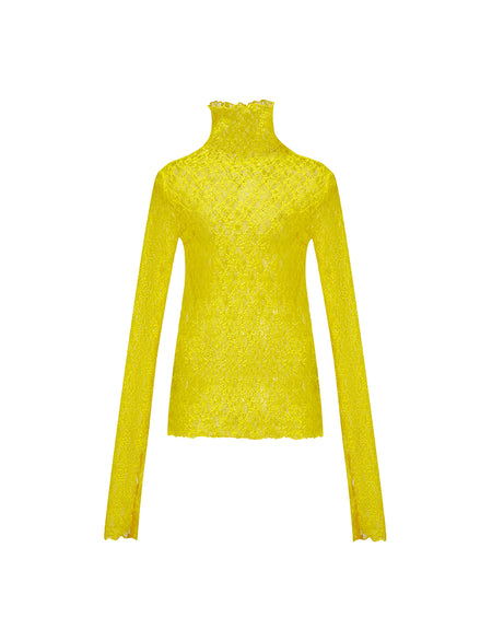 Yellow Lacy Long-sleeve Turtleneck Top