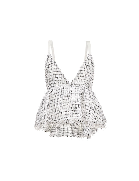Tweed Crop Top - White