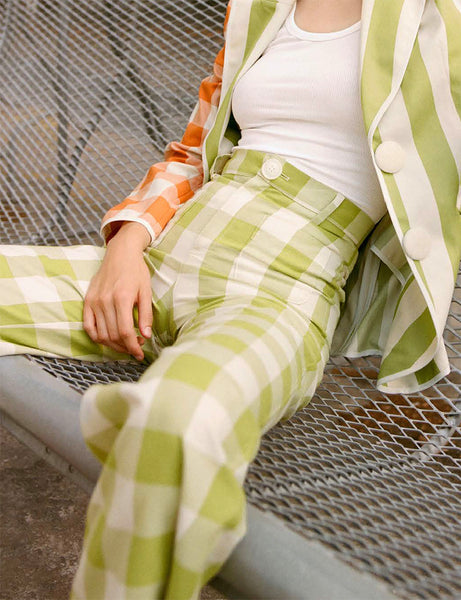 La Veste - Lime Check Pants