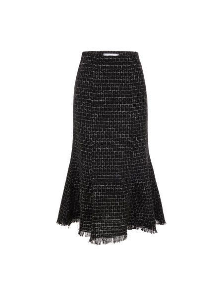 Tweed High Waisted Skirt - Black