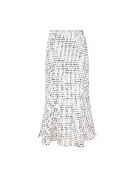 Tweed High Waisted Skirt - White