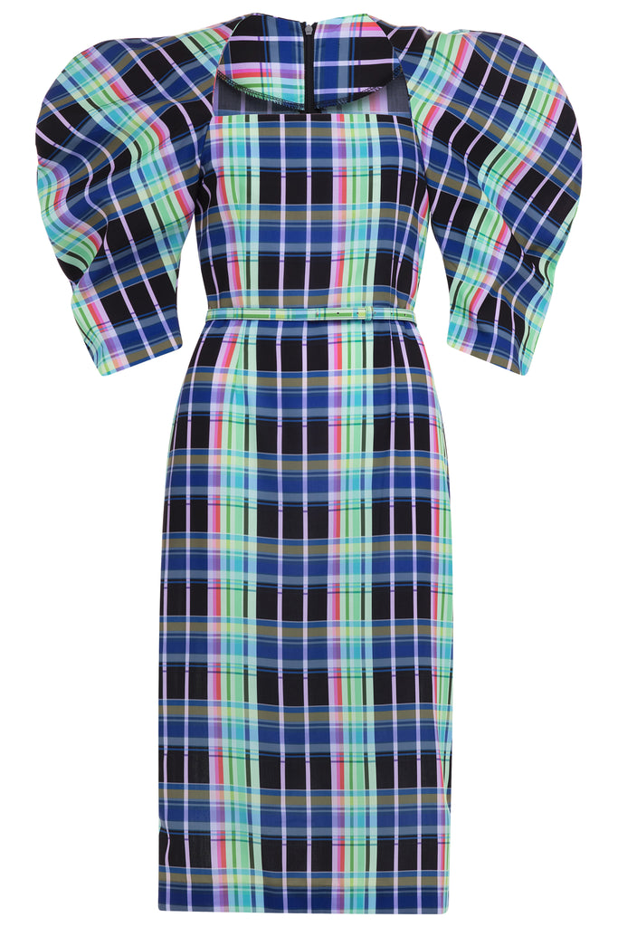 Neon Gingham Puff Sleeve Dress - Blue