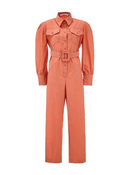 Belted Pocketed Jumpsuit - Orange