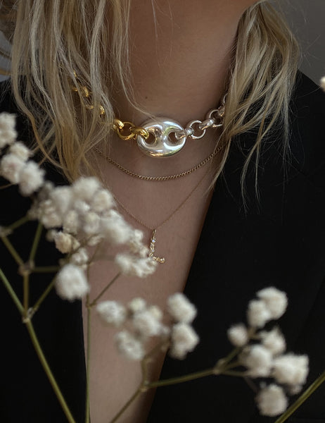 Timeless Pearly - Coffee Bean Bi-Color Choker Chain
