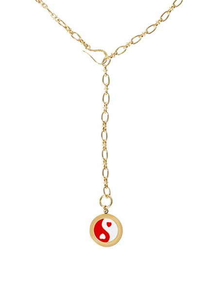 WG x Blanca Miró - Gold YinYang Necklace Red