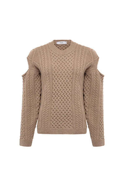 Shoulder Cutout Cableknit Sweater - Brown