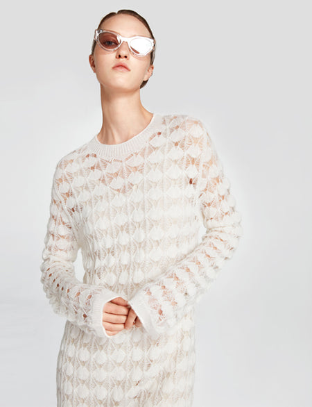 White Open-Knit Sweater Dress