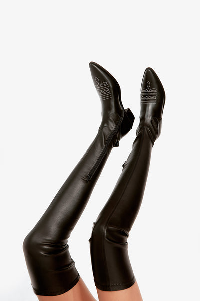 Black Over The Knee Pointed Cowboy Boots - Black