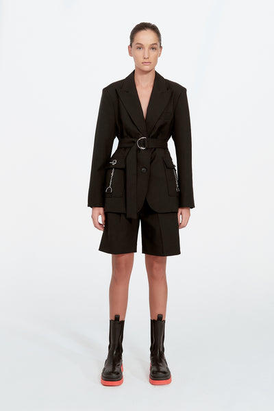 Belted Blazer with Chains - Black