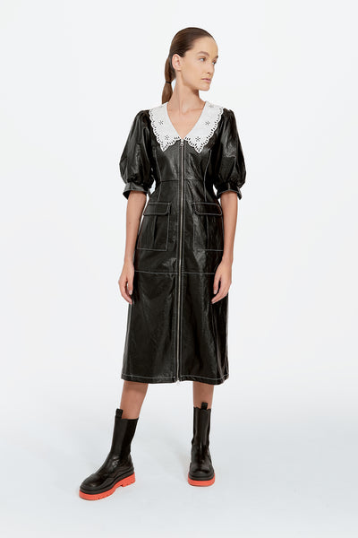 Patent Leather Dress with Lace Collar