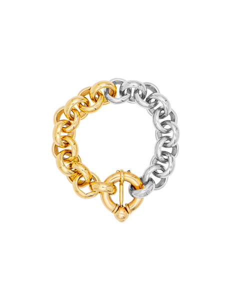 Timeless Pearly - Thick Chain Bi-color Silver Gold Bracelet