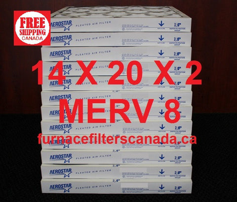 14 x 20 x 2 MERV 8 Standard Efficiency Furnace Filters Canada Box of 12