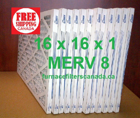 16x16x1 MERV 8 standard efficiency furnace filters Canada