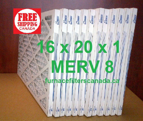 16x20x1 MERV 8 standard efficiency furnace filters Canada