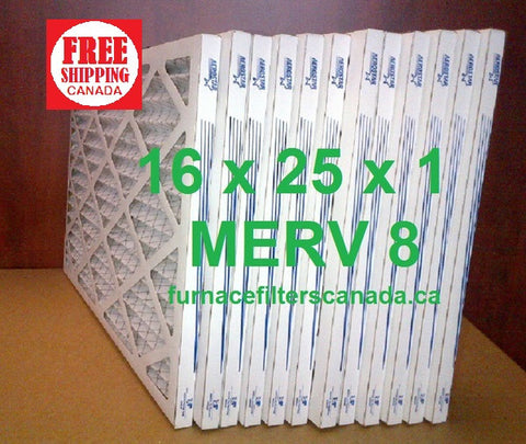 16x25x1 MERV 8 standard efficiency furnace filters Canada