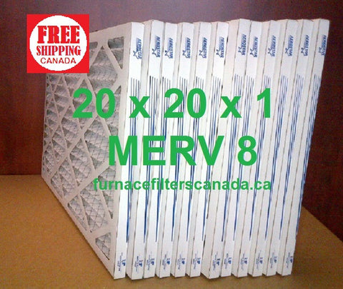 20x20x1 MERV 8 standard efficiency furnace filters Canada
