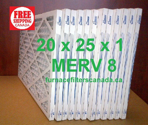 20x25x1 MERV 8 standard efficiency furnace filters Canada