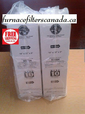 Lennox Healthy Climate Part No. X0584 16 x 26 x 5 MERV 10 Furnace Filters Box of 2