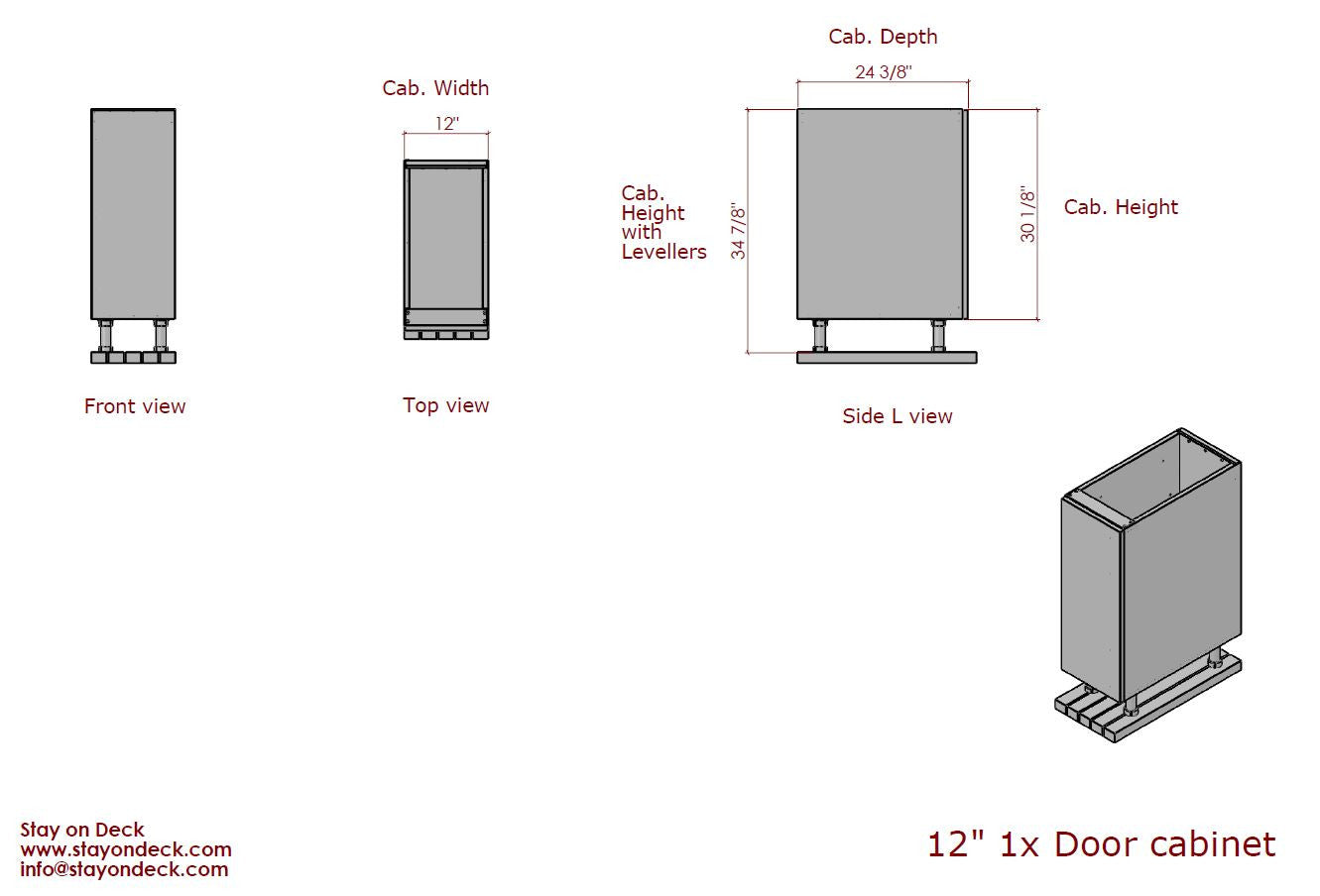 "Dimensions for 12""+ 1 Door Outdoor Kitchen Cabinet"