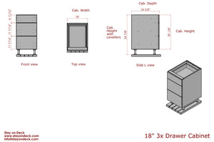 18inch 3 Drawer outdoor kitchen cabinet