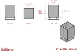 "Dimensions for 24"" Outdoor Cabinets for Outdoor Kitchens"