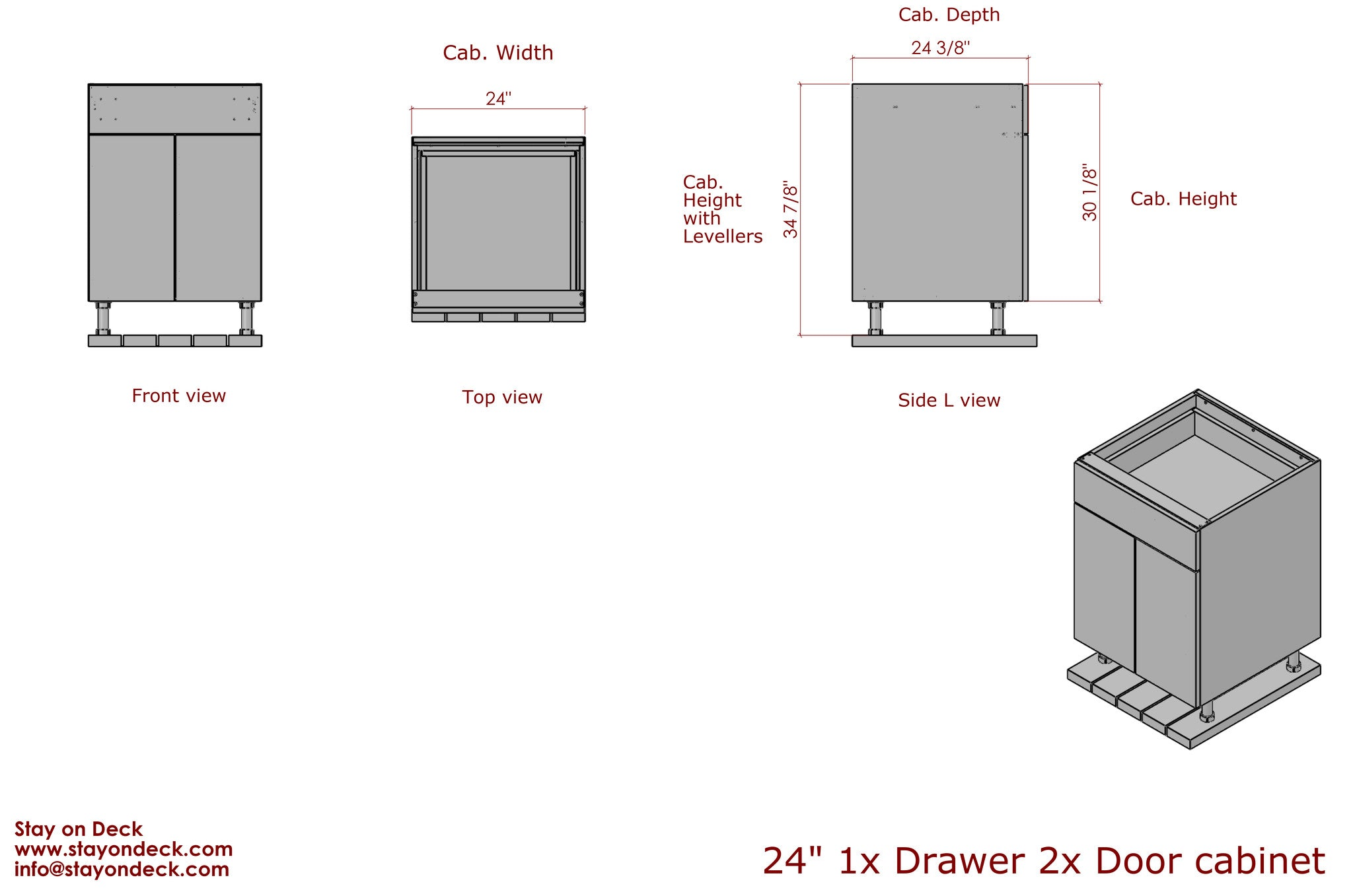 "Dimensions for 24"" Outdoor Kitchen Cabinets"