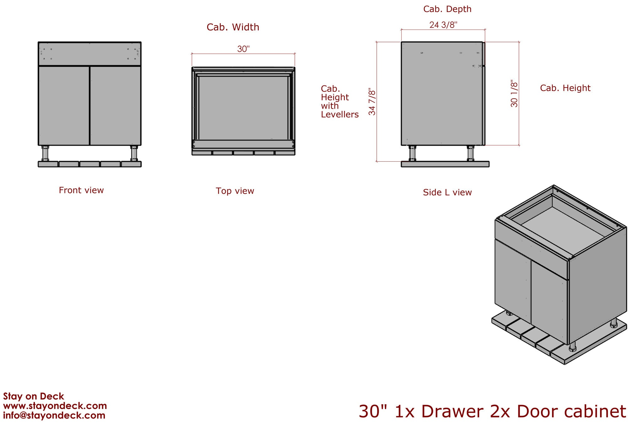 "Dimensions for 30"" Outdoor Cabinets for Outdoor Kitchens"