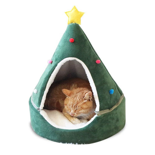 Christmas Tree Warm Cat Bed