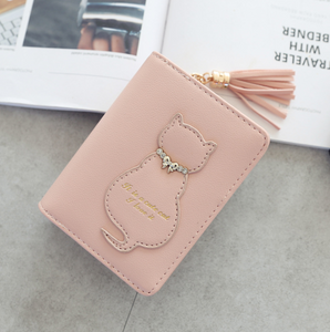 Women's cat decoration tassel short paragraph vertical section two fold small wallet