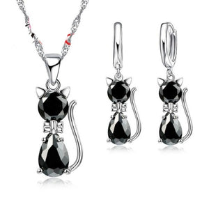 Sterling Silver Kitty Jewelry Set