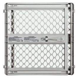 Pet Gate, Light Gray Plastic, 26 to 42 x 26-In.