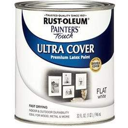 Painter's Touch Ultra Cover Latex Paint, Flat White, 1-Qt.