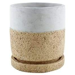 Modern Cement Planter With Tray, Cork Cylinder, 5.75-In.