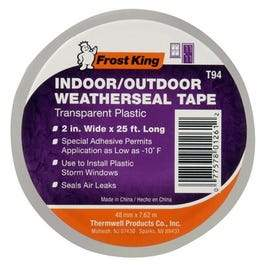 Clear Plastic Window Weatherseal Tape, 2-In. x 25-Ft.