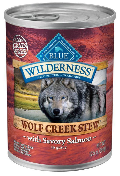 Blue Buffalo Wilderness Wolf Creek Stew Savory Salmon Stew Canned Dog Food