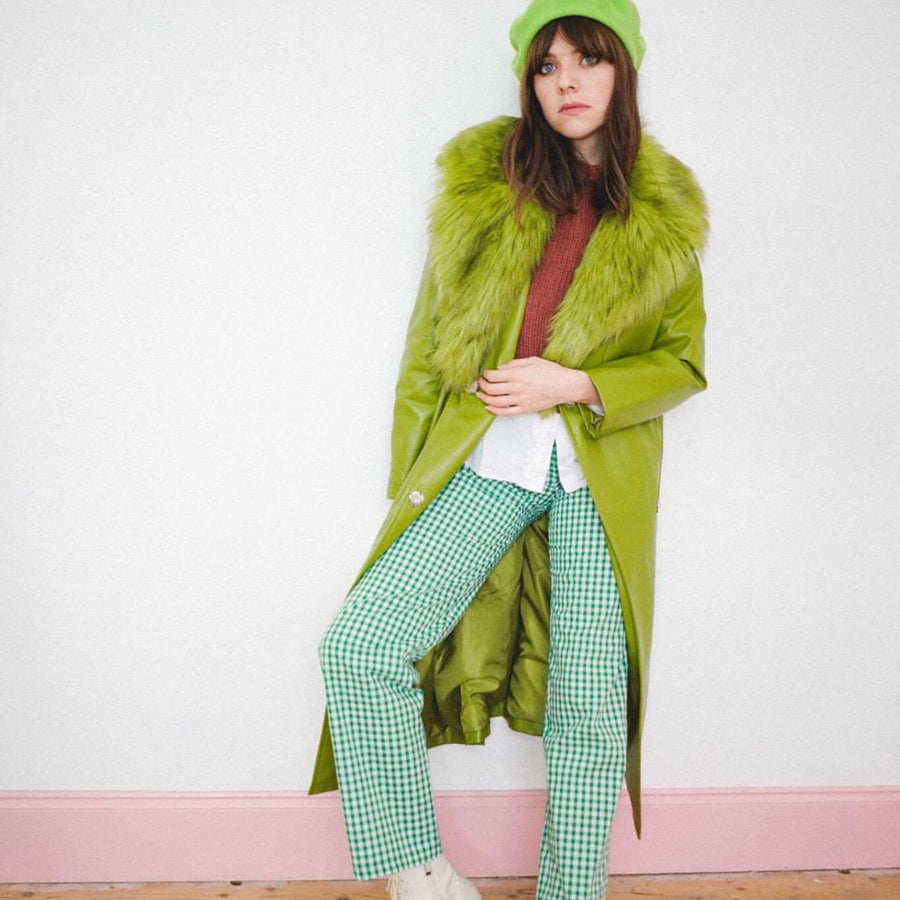 Green gingham trousers