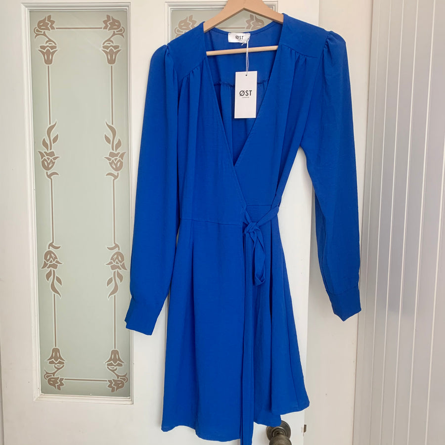 Vera Wrapdress Electric Blue -Short