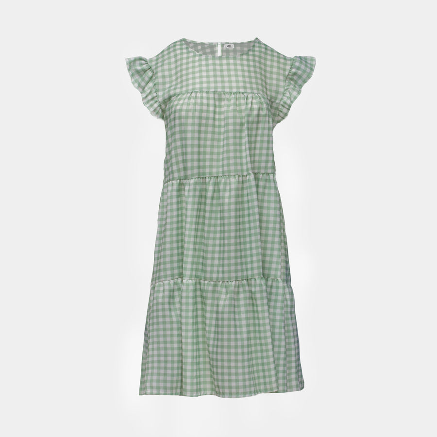 Gingham dress mint green