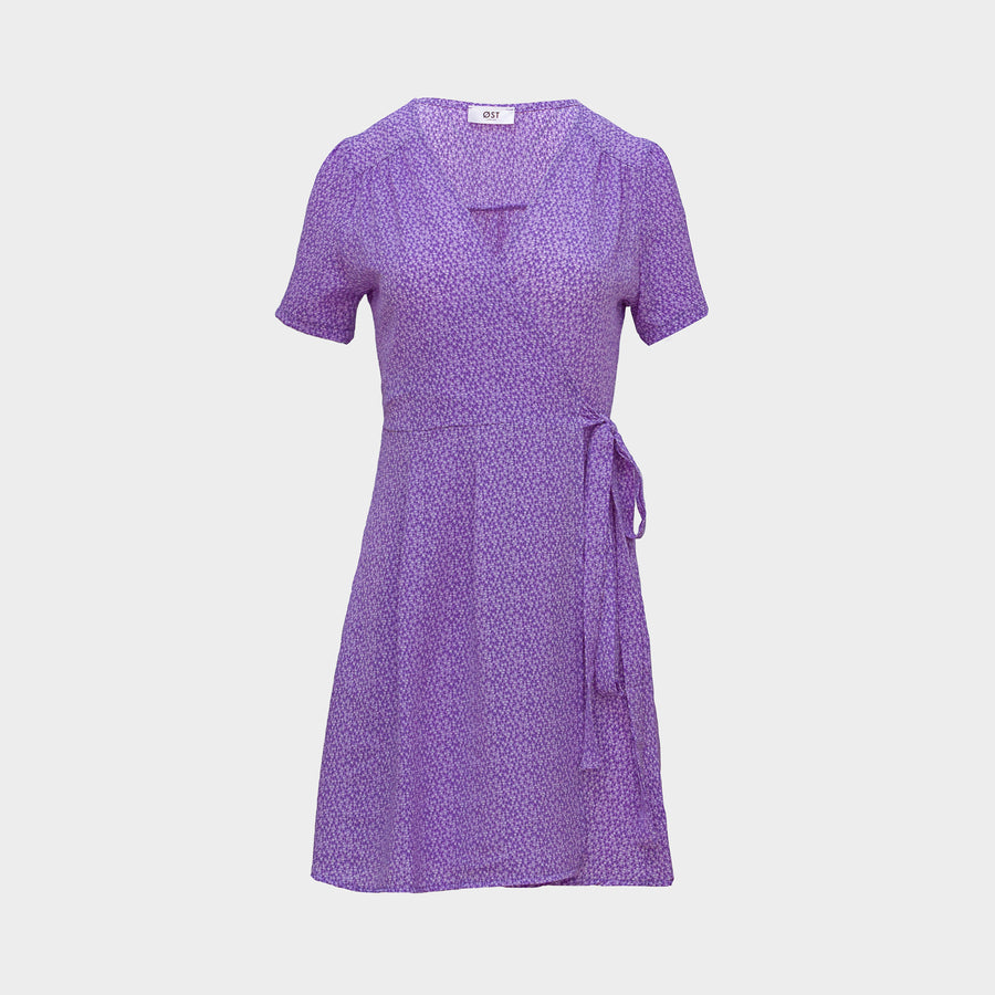 Vera Wrap Dress Short -Lilac Confetti