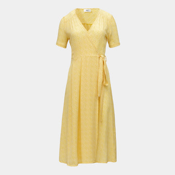 Vera Wrap Dress Long -Yellow
