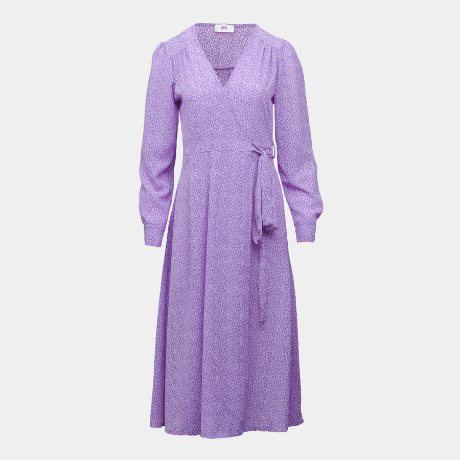 Vera Wrap Dress Long -Lilac Confetti Long Sleeve