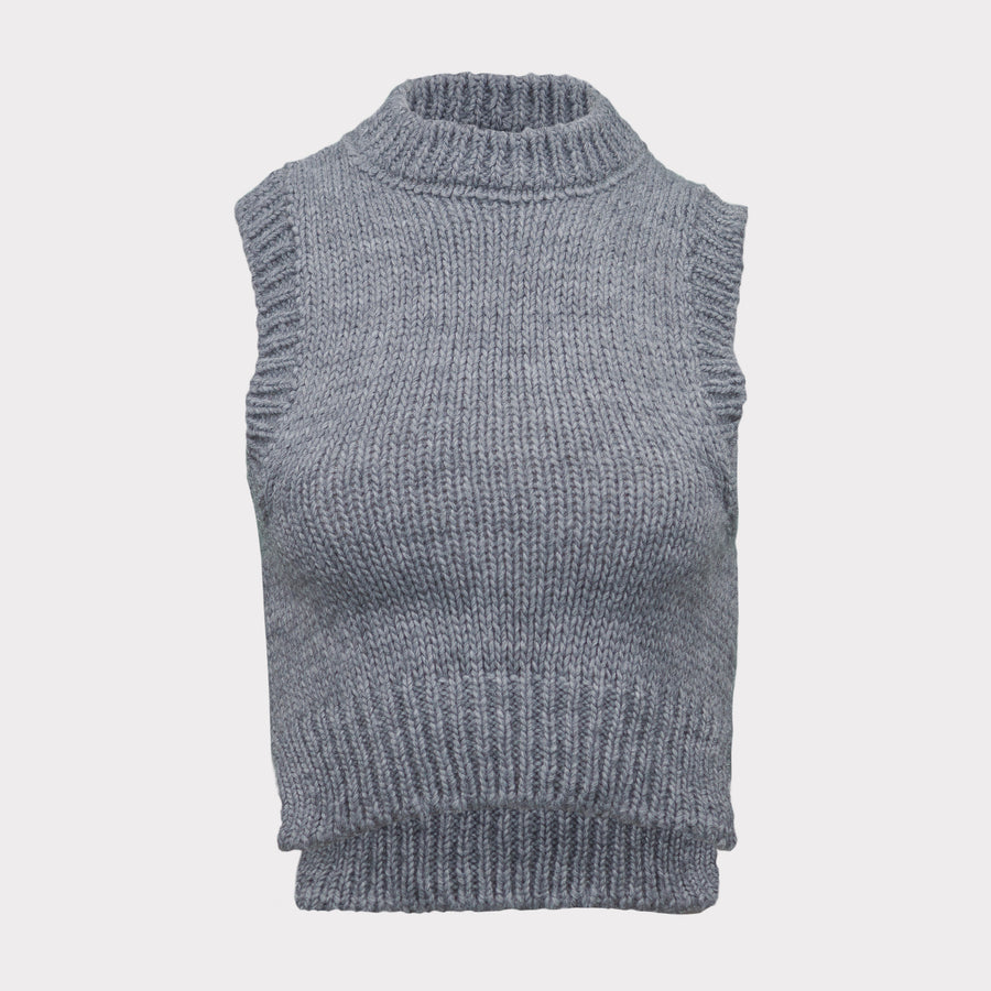 Vest knitted grey